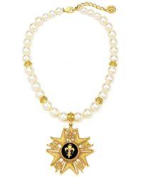 Ben-Amun Fleur-de-lis Medal W/ Pearly Necklace - Metallic