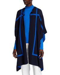 St. John Reversible Graphic Windowpane Double-knit Cape - Blue