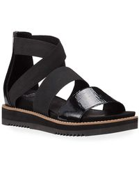Eileen Fisher - Klay Patent Stretch Wedge Sandals - Lyst