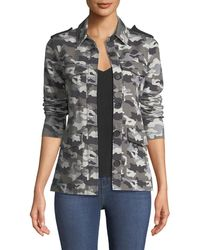 L'Agence - Cromwell Button-front Camo-print Military Jacket - Lyst