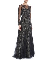THEIA Beaded Long-sleeve Tulle Ball Gown - Black