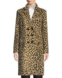 Piazza Sempione Double-breasted Animal-print Velveteen Topper Coat - Natural