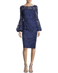 David Meister - Sequin Lace Bell-sleeve Dress - Lyst