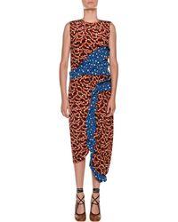 Marni | Sleeveless Contrast Ruffle Fitted Sheath Dress | Lyst