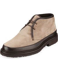 4552111f Men's Trivero Suede & Leather Chukka Boots - Natural