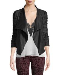 Lamarque - Brenda Textured-sleeve Asymmetric Leather Jacket - Lyst