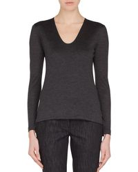 Akris - V-neck Long-sleeve Cashmere-silk Jersey Top - Lyst