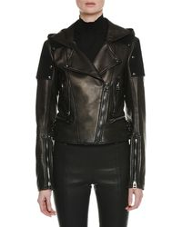 Tom Ford - Zip-front Leather And Suede Hooded Biker Jacket - Lyst