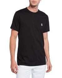 Burberry Logo-embroidered Cotton-jersey T-shirt - Black