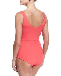 La Petite Robe Di Chiara Boni - Naky V-neck Gathered One-piece Swimsuit - Lyst