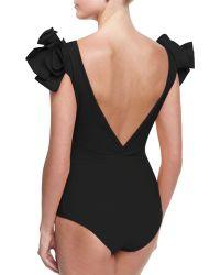 La Petite Robe Di Chiara Boni - Belvisette V-neck Two Rose One-piece Swimsuit - Lyst