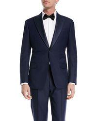 Emporio Armani - Textured Two-piece Tuxedo With Satin Peak Lapel - Lyst