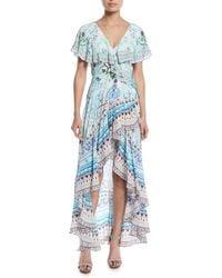 Camilla - Frill-sleeve Silk Wrap Coverup Dress - Lyst