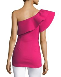 La Petite Robe Di Chiara Boni - Dadie One-shoulder Sculpted Ruffle Top - Lyst