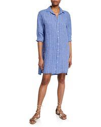 fce0edebe0 Lyst - Frank   Eileen Murphy Button-front Linen Shirtdress Blue in Blue