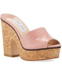 Jimmy Choo Deedee Shiny Cork Platform Sandals - Pink