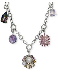 Stephen Dweck Multi-stone & Pearl Charm Necklace - Metallic