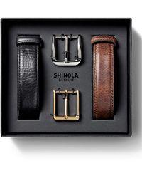 Shinola Men's Leather Belt Boxed Gift Set - Black