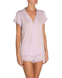 Eberjey Ruthie Ruffle Shortie Pyjama Set - Purple