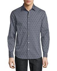 Emporio Armani - Men's Geometric-flocked Button-front Long-sleeve Cotton Woven Shirt - Lyst