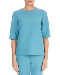 Victoria, Victoria Beckham - Round-neck Half-sleeve A-line Wool-blend Top - Lyst