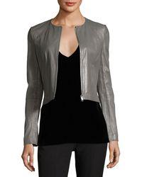 Elizabeth and James - Helen Long-sleeve Cropped Leather Moto Jacket - Lyst