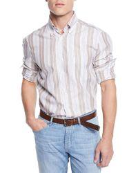Brunello Cucinelli - Men's Linen/cotton Barcode Stripe Sport Shirt - Lyst