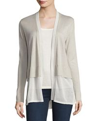 Neiman Marcus - Cashmere Chiffon-trim Open-front Cardigan - Lyst