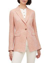 Lafayette 148 New York Atticus Leopold Linen Peak-lapel One-button Blazer - Pink