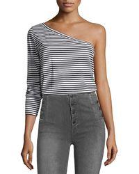 Robert Rodriguez - One-shoulder Long-sleeve Striped T-shirt - Lyst