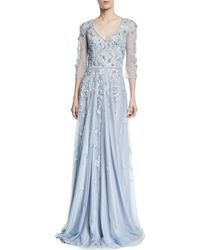 THEIA   Floral Tulle Appliqué V-neck Gown   Lyst