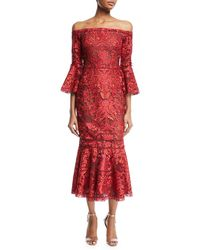 Notte by Marchesa - Off-shoulder Lace Bell-sleeve Midi Cocktail Dress - Lyst