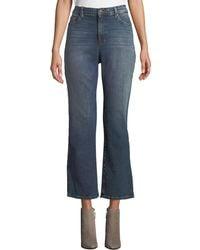 Eileen Fisher Petite High-waist Boot-cut Organic Cotton Denim Jeans - Blue