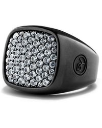 David Yurman Pave Sapphire Signet Ring - Black