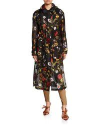 Oscar de la Renta Floral Embroidered Chiffon Collared Coat - Black