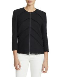 Lafayette 148 New York Reynolds Zip-front Burano Boucle Weave Jacket - Black