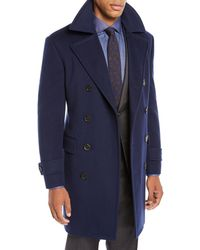 Canali - Men's Wool-blend Double-breasted Top Coat - Lyst