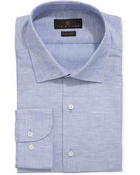 Ike Behar - Men's Solid Cotton/linen Dress Shirt Gray - Lyst