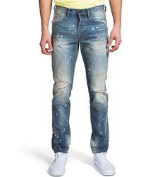 PRPS Men's Le Sabre Ripped & Bleached Straight-leg Jeans - Blue