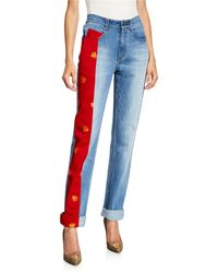 Hellessy Lili Bee-embroidered Charmeuse Panel Jeans - Blue