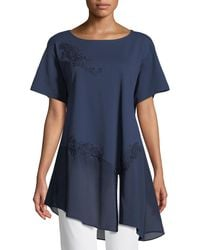 Joan Vass - Chiffon-trim Floral-applique Tunic - Lyst