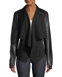 BLANC NOIR - Drape-front Quilted Faux-leather Jacket - Lyst