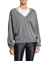 T By Alexander Wang Bi-layer V-neck Wool Sweater - Gray