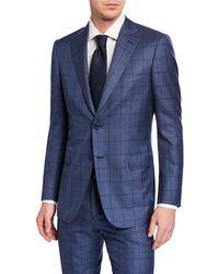 Brioni - Men's Windowpane Wool-silk Two-piece Suit - Lyst