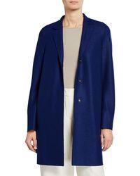 Harris Wharf London Wool Cocoon Coat - Blue