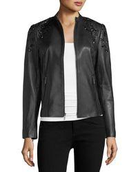 Neiman Marcus - Bead-embellished Leather Jacket - Lyst