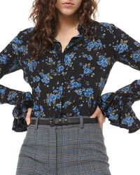 Michael Kors Crushed Ruffle-cuff Shirt - Blue
