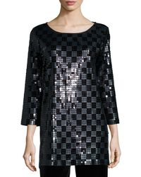 Joan Vass - 3/4-sleeve Square Sequined Tunic - Lyst