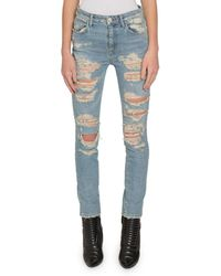 Redemption Light-washed Slashed-front Skinny Jeans - Blue