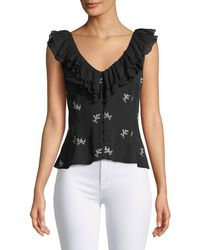 Cinq À Sept - Gia Embroidered Ruffle Top - Lyst
